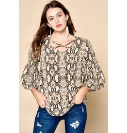 Oddi AVA Snake Print Caged Neck Blouse (Size S-3XL)