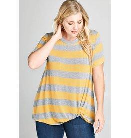 Oddi EMMA Striped Twist Front Plus Size Top