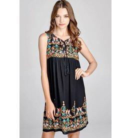 Oddi PENNY Embroidery Lace-up Dress