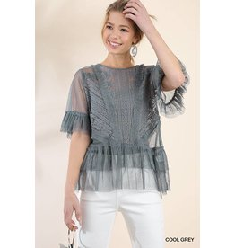 UMGEE JESSICA Ruffled Sheer Lace Gray Top