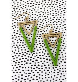 Wholesale Accessory Mart CANVAS Lime Double Triangle Earring
