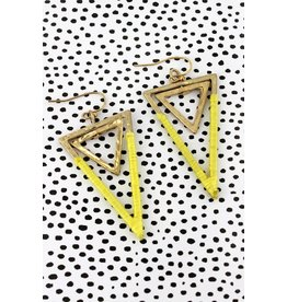 Wholesale Accessory Mart CANVAS Yellow Double Triangle Earring