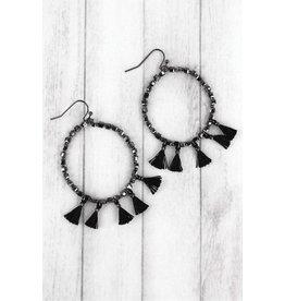 Wholesale Accessory Mart JET Square Beaded Tassel Hoop Earring