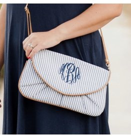 Viv & Lou SHIPLY Navy Seersucker Crossbody/Clutch