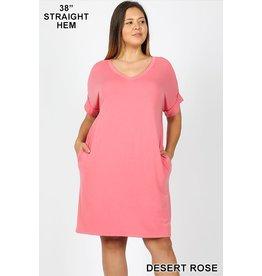 Zenana Premium CANDY Short Sleeve V-Neck Dress
