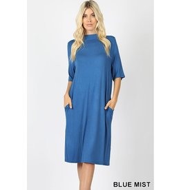 Zenana Premium KRISSY 3/4 Sleeve with Pockets Dress