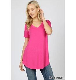 Zenana Premium AMY Short Sleece V-Neck Round Hem Top
