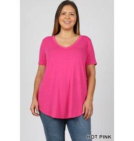 Zenana Premium AMY Curvy Girl Short Sleeve V-Neck Round Hem Top