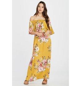 Oddi TRIPP Mustard Floral Print Maxi Dress