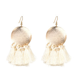 SIENNA Gold with White Tassel Earring