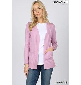 Zeana JENNA Open Front Cardigan (Blush Pink)