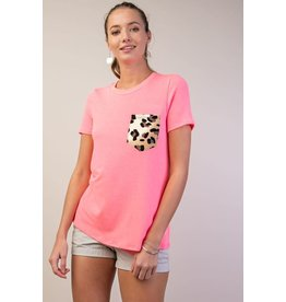 12 PM by Mon Ami POP Hot Pink Tee with Leopard Pocket