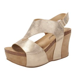 Nature Breeze TRUCE Metallic Gold Wedge Sandals