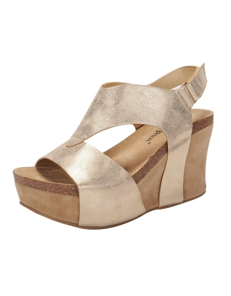 Nature Breeze TRUCE Metallic Gold Wedge Sandals