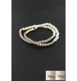 Funteze Accessories PEARLS Contrast Stretch Bracelets