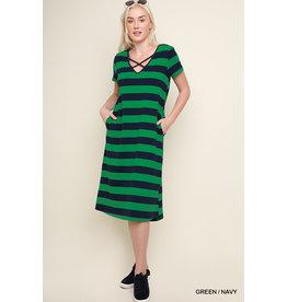 UMGEE HAZEL Striped Crisscross V-neck Dress