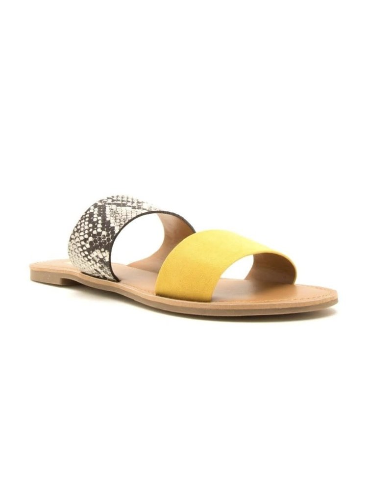 CLONE Snake Skin and Yellow Slip On Sandals