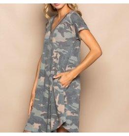 Cezanne SADIE Camouflage Short Sleeve Dress