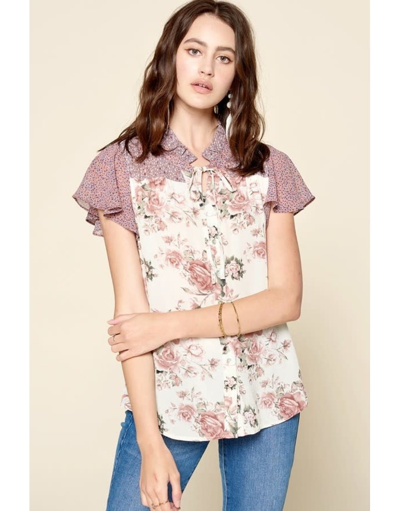 2c91c1e2c75 AMBER Button Down Floral Blouse - The Ritzy Gypsy