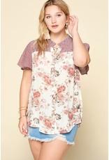 Oddi AMBER Curvy Girl Button Down Floral Blouse