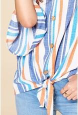 Oddi KAYLEE Striped Bell Sleeve Button Down Blouse