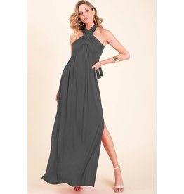 BiBi LAUREN Off The Shoulder Maxi Dress with Side Slit