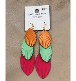 KNC LINDEN Tiered Leather Earring