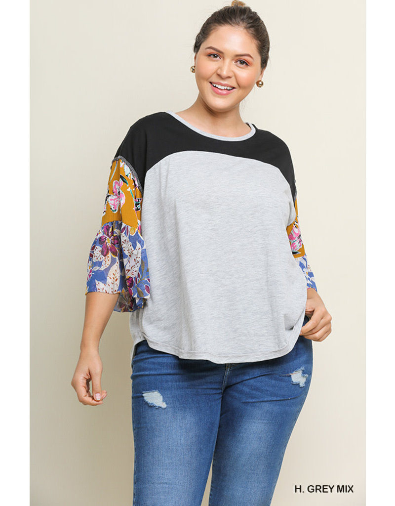 UMGEE COLORBLOCK Curvy Girl Heather Top with Bell Sleeves