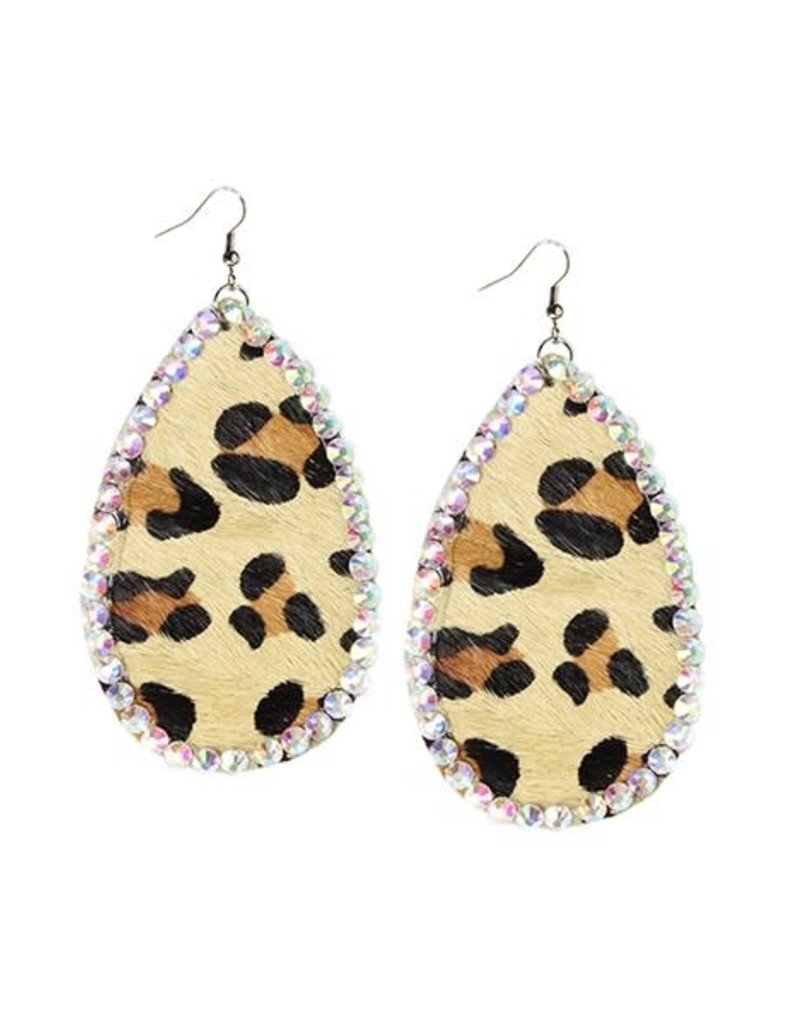Your Fashion Wholesale LARA Leopard Hide Earring with Crystals