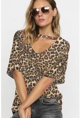 BiBi Lacey Leopard Top Front V-Shpe neck