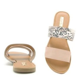 CHER Snakeskin and Blush Sandal