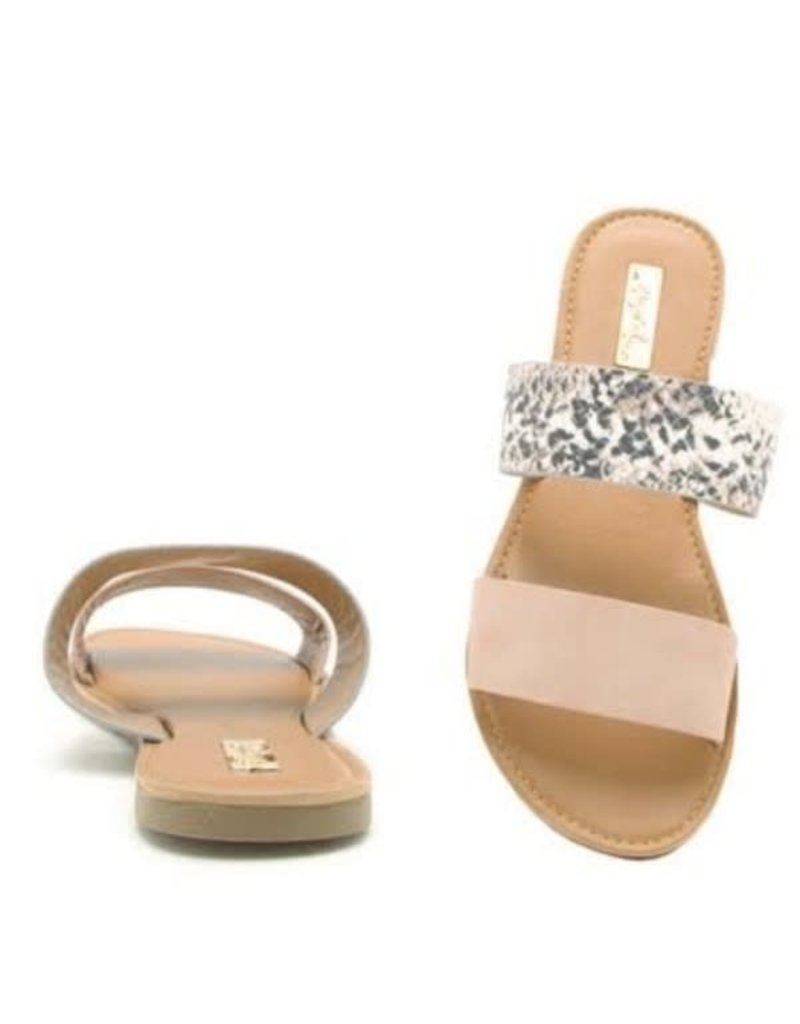 CHER Snakeskin and Blush Sandal
