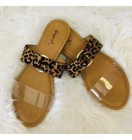 Joia Trading ARCHER Leopard Sandal with Clear Strap