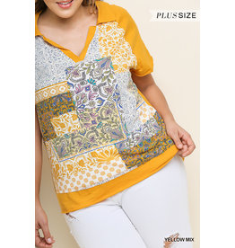 UMGEE CONTRAST Mustard Collared Top