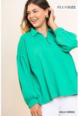 UMGEE NIKKI Plus Size Green Puff Sleeved Top