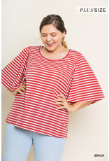 UMGEE MEGAN Plus Size Striped Bell Sleeved Top