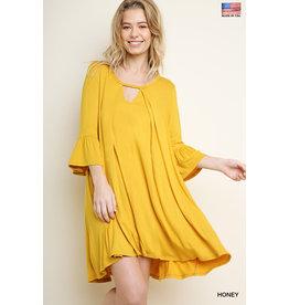 UMGEE NORMANDIE Mustard Bell Sleeve Keyhole Dress