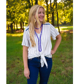 The Ritzy Gypsy AUDRINA Striped Vneck Front Tie