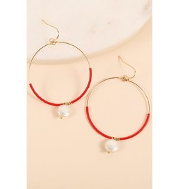 KNC STADIUM Beaded Earring with Pearl Drop