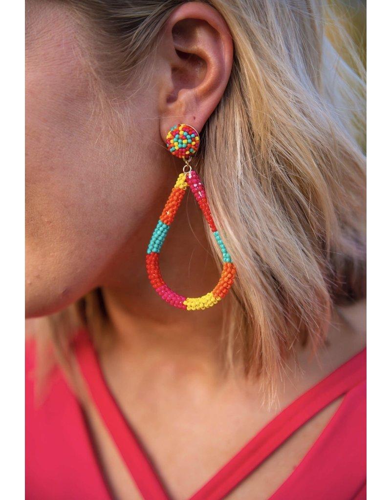 KNC OK SUNSET Beaded Teardrop Earring