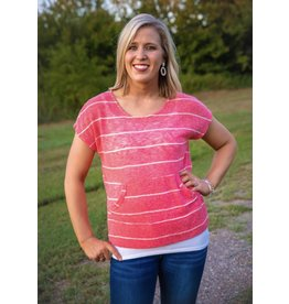 MISSY Pink and White Stripe Top