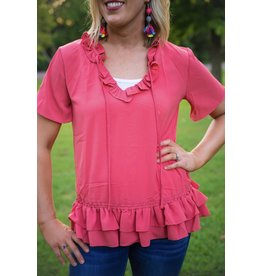 UMGEE CANDY Coral Ruffle Top