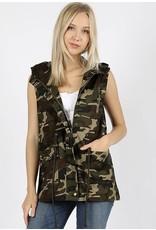 Zenana Premium WEST Camo Hoodie Vest