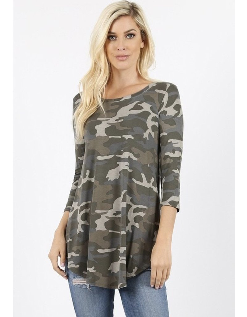 Zenana Premium DUSTY Camo Top