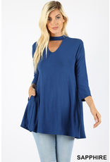 Zenana Premium SAPPHIRE Choker Neck Top Blue