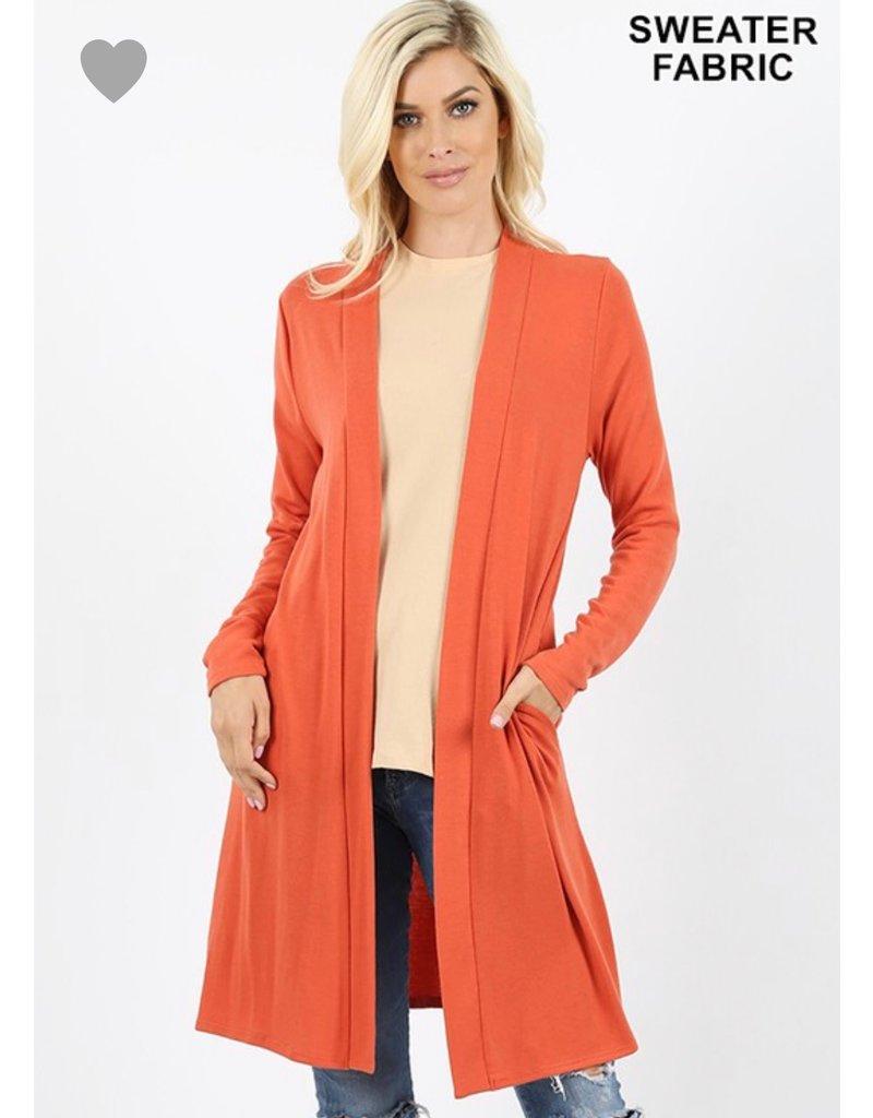 Zenana Premium MYRA Copper Sweater Open Front