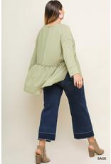 UMGEE BARBARA Plus Size Long Sleeve Babydoll Top