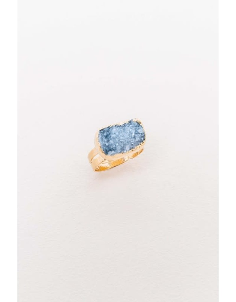 LOVODA SHIMMERING Druzy Adjustable Ring