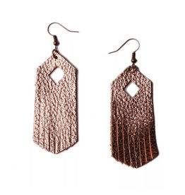 L&N Rainbery ARIA Rose Gold Leather Earring