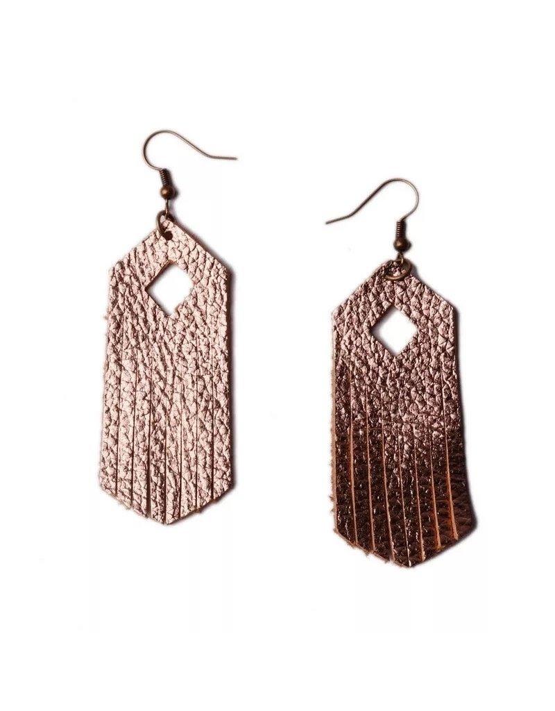 L&N Rainbery ARIA Rose Gold Leather Earring